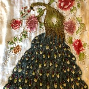 Hand embroidered beaded peacock scarf shawl